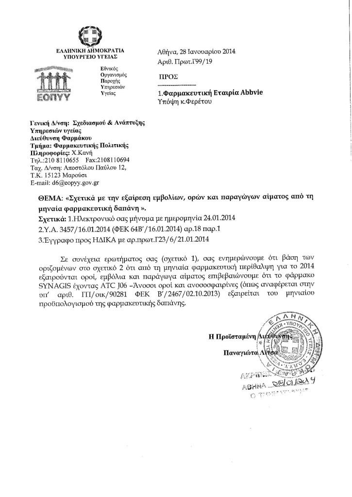 ΠΛΑΦΟΝ_ΑΠΑΝΤΗΣΗ ΣΧΕΤΙΚΑ ΜΕ SYNAGIS